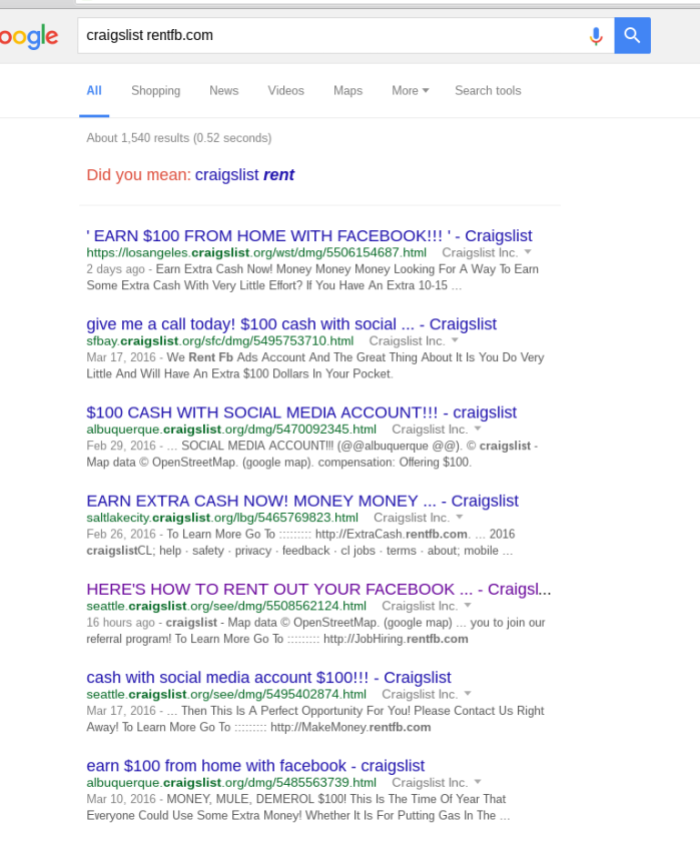 RentFB Ads on Craigslist